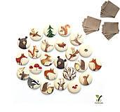 Dekorácie - Adventný kalendár Lesná rozprávka (24 ľanových vreciek s butónmi) - 11222361_