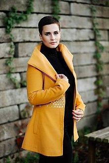 Kabáty - Žltý vlnený kabát - 11222542_