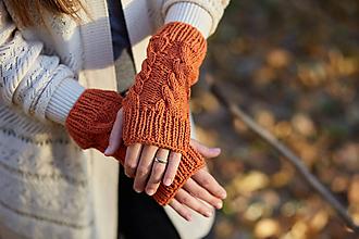 Rukavice - Tehlovo-červené bezprstové rukavice - 11222304_