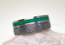 Prstene - Prsteň Damašek Titanium Malachit - 11220312_
