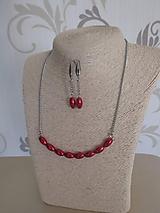 Náhrdelník s náušnicami - červené perly - chirurgická oceľ