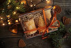 Svietidlá a sviečky - Vianočná SADA sviečok V DARČEKOVOM BALENÍ (Oranžová) - 11220917_