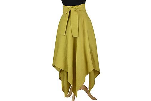 LINA - ľanová asymetrická sukňa v tmavších farbách (Žltozelený melange)