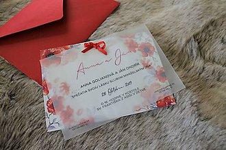 Papiernictvo - Svadobné oznámenie -červené - 11220320_