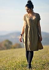 Lněné šaty zavinovací Oříškově hnědé