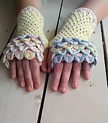 Rukavice - Háčkované trblietavé rukavice - 11221456_