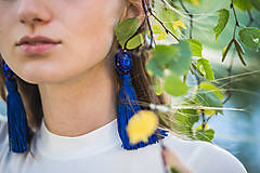Náušnice - náušnice strapčekové (kráľovsky modré) - 11224597_