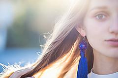 Náušnice - náušnice strapčekové (kráľovsky modré) - 11224600_