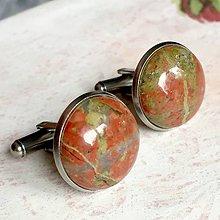 Šperky - Unakite Stainless Steel / Manžetové gombíky s unakitom - chirurgická oceľ - 11223863_