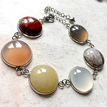 Náramky - Gemstones Stainless Steel Bracelet / Náramok s minerálmi (chirurgická oceľ) - 11224033_