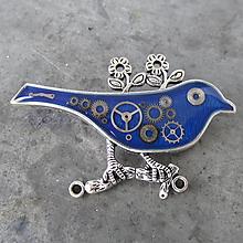 Odznaky/Brošne - MODRÝ PTÁČEK, z hodinek, steampunk, BROŽ - 11226097_