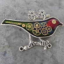 Odznaky/Brošne - PESTROBAREVNÝ PTÁČEK, z hodinek, steampunk, BROŽ - 11226156_