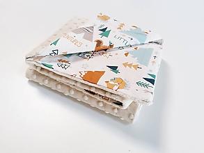 Textil - Minky deka latte so zimnými zvieratkami 70*100cm - 11226768_