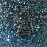 Obrazy - Anjelik na platne - tyrkys - 11223519_
