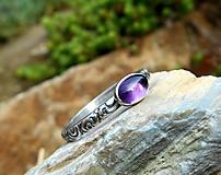 Prstene - Strieborný Prsteň s Ametystom - 11225891_