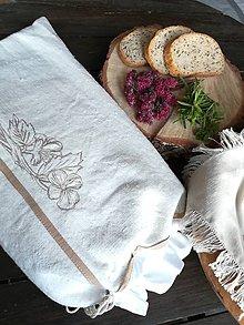 Úžitkový textil - Ľanové vrecko z ručne tkaného plátna - 11224732_