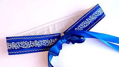 Opasky - Folk opasok kráľovská modrá - 11225255_