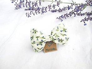 Ozdoby do vlasov - Roztomilá mašlička (s pinetkou) (krémová + modré ružičky) - 11226416_