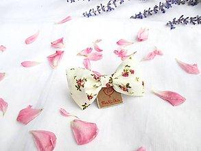 Ozdoby do vlasov - Roztomilá mašlička (s pinetkou) (krémová + červené ružičky) - 11226430_