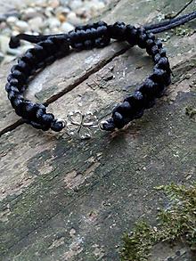 Náramky - Čierny náramok štvorlístok - 11226395_