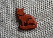 Odznaky/Brošne - Drevená brošňa líška - 11222996_