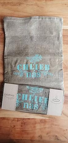 Úžitkový textil - ChleBag - Ľanové voskované vrecko na chlieb/pečivo (Tyrkysová) - 11225786_