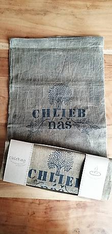 Úžitkový textil - ChleBag - Ľanové voskované vrecko na chlieb/pečivo (Čierna) - 11225870_