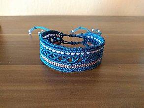 Náramky - Makramé náramok Manžeta lapis blue - 11224955_