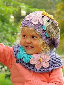 Detské čiapky - Baretka a nákrčník-Jesenný ježko - 11227116_