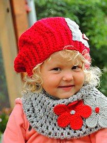 Detské čiapky - Baretka a nákrčník-Heart - 11227138_