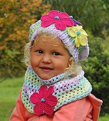 Detské čiapky - Baretka a nákrčník-Kvety - 11227148_