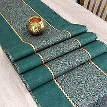 Úžitkový textil - TAMARA - zlato zeleno červená klasika - stredový obrus - 11223467_