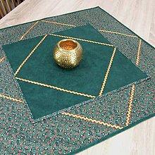 Úžitkový textil - TAMARA - zlato zeleno červená klasika - obrus štvorec 40x40 - 11223509_