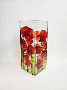 Dekorácie - Sklenená váza s maľovanými makmi - 11225460_