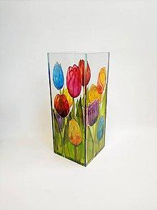 Dekorácie - Sklenená váza s maľovanými tulipánmi - 11225469_