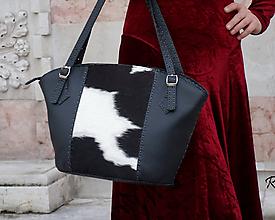 Kabelky - Ručně šitá kožená kabelka Milky_Black_Elegant - 11226579_