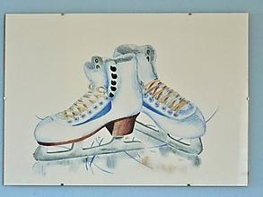 Obrazy - Zimné korčule, akvarel - 11226231_