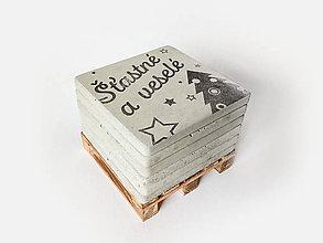 Dekorácie - Industriálne betónové podpivníky / podtácky - Vianoce [6ks + paletka] - 11224357_
