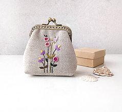Peňaženky - Peňaženka Fialové kvietky - M - 11222944_