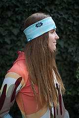 Ozdoby do vlasov - AZTEC BLUE WINTER  - termo čelenka - 11227212_