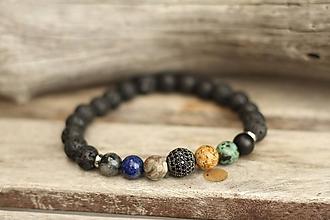 Šperky - Pánsky náramok z mixu minerálov - 11223584_
