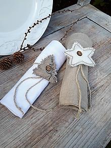 Úžitkový textil - Ľanový obrúsok Natur Christmas - 11226922_