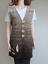 Iné oblečenie - Vesta - zapínací - nugátový melír - 11229340_