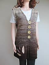 Iné oblečenie - Vesta - zapínací - nugátový melír - 11229342_