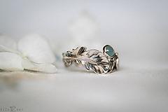Prstene - Zlatý prsteň s pierkom a akvamarínom - S tebou - 11227856_