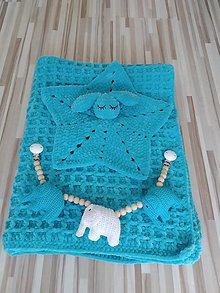 Textil - Háčkovaná deka tyrkysová - 11227938_