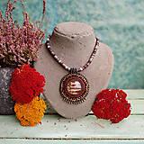 Náhrdelníky - Jasper Medaillon - vyšívaný náhrdelník - 11230017_