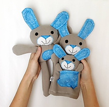 Hračky - Maňuška zajačik - Rodinka Sivých od Tyrkysového kríčka - 11229780_