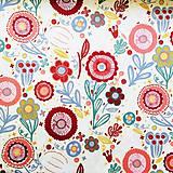 Textil - pevná bavlnená dekoračná látka Kreslené kvety, šírka 140 cm - 11228171_