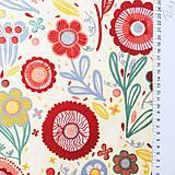 Textil - pevná bavlnená dekoračná látka Kreslené kvety, šírka 140 cm - 11228172_